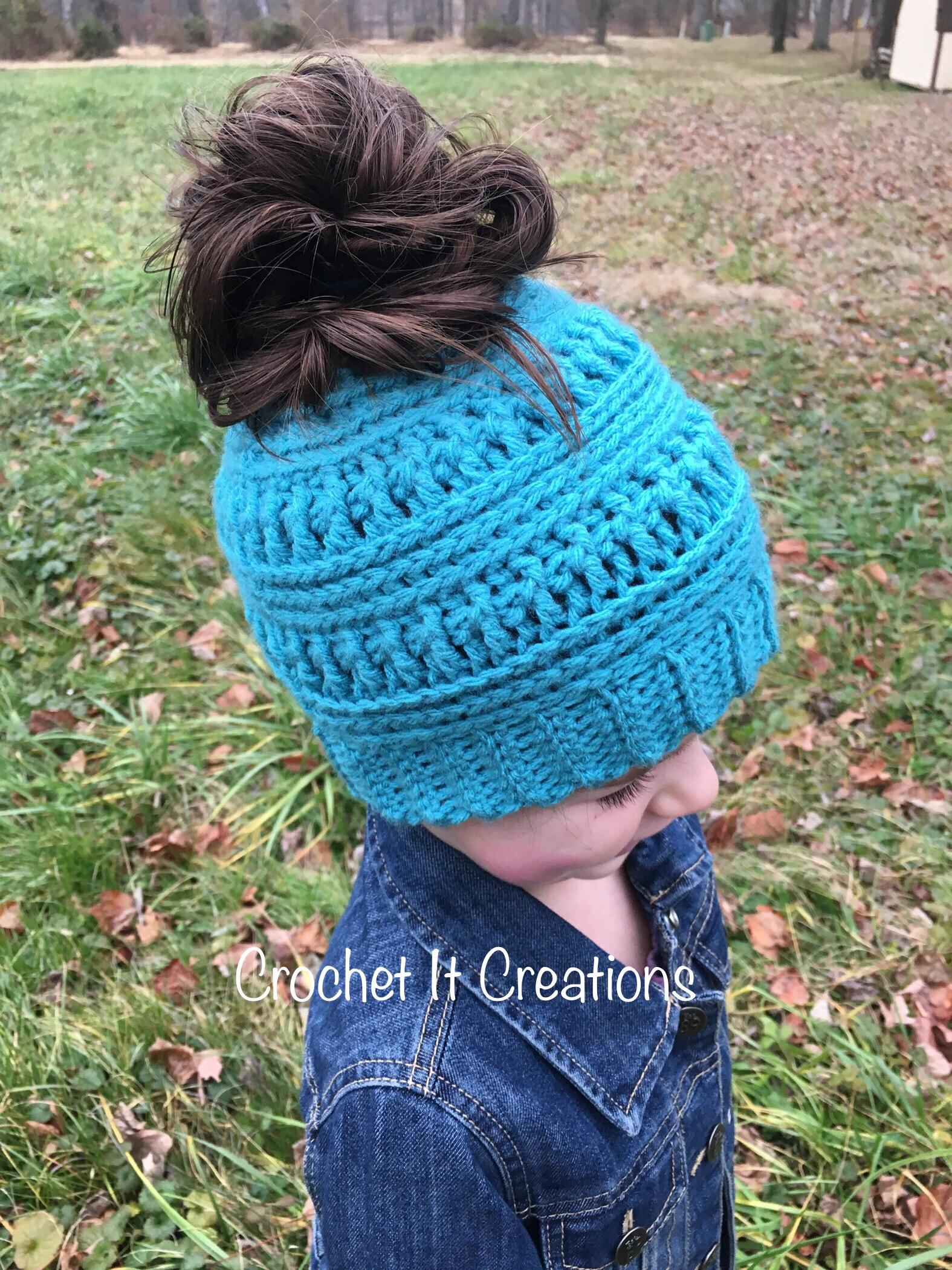 The Gracie Messy Bun Beanie Crochet Pattern Crochet It Creations