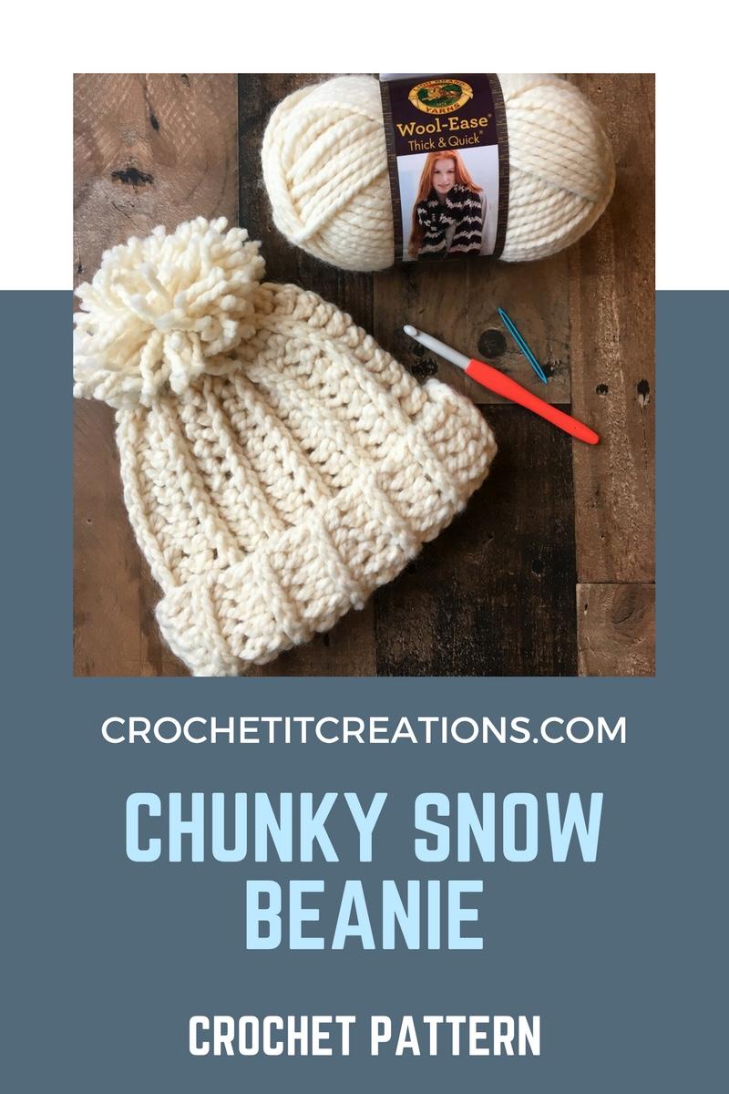 9ef2a43b7a4 Crochet it Creations - Chunky Snow Beanie Crochet Pattern