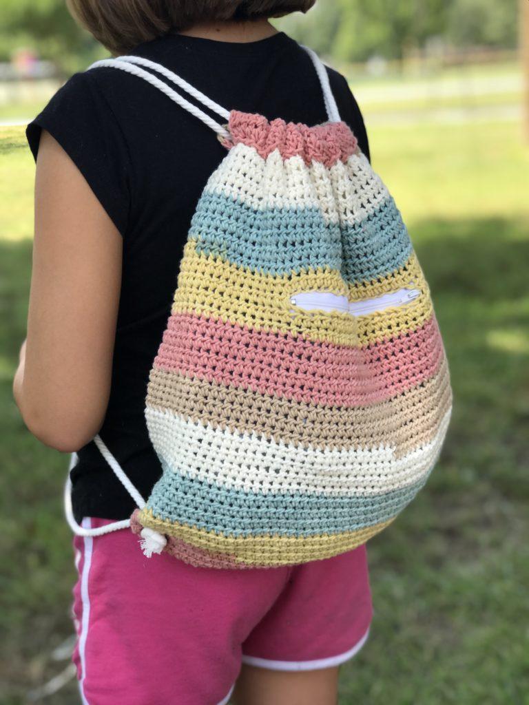 Cinch Sack Drawstring Backpack Crochet Pattern by Crochet it Creations